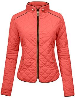 NE PEOPLE Womens Lightweight Quilted Zip Jacket-Dustypink-XL